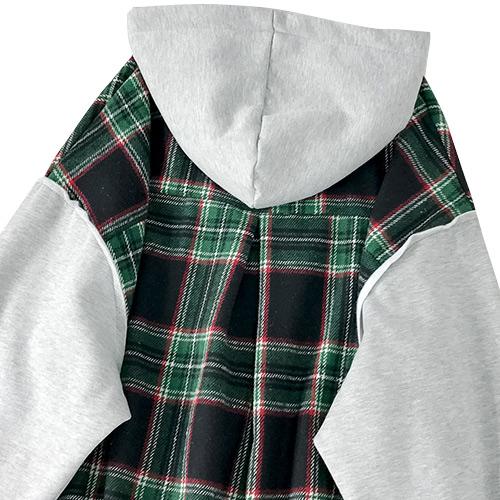ジャケット レディース ざっくり オーバーサイズ スウェット チェック カジュアル かわいい グリーン 20slj07xyz