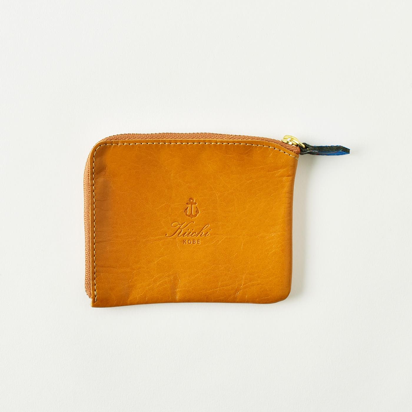 神戸タータン 革ミニ財布(キャメル)