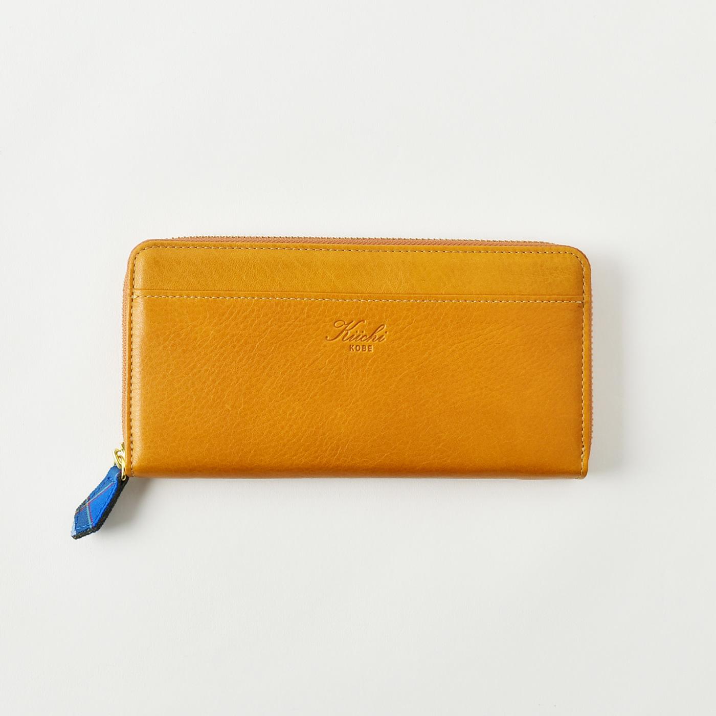 神戸タータン 革長財布(ラウンド)(キャメル)