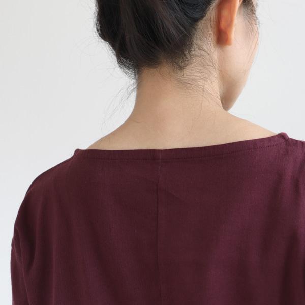 BIWACOTTON (ビワコットン) ボートネック Tシャツ(ロンT) ワイン カットソー/ロングスリーブ/長袖シャツ