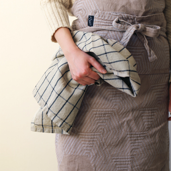 ferm LIVING (ファームリビング) Hale Tea Towels(ヘイル ティータオル) サンド/ブラック 北欧/キッチンタオル/日本正規代理店品