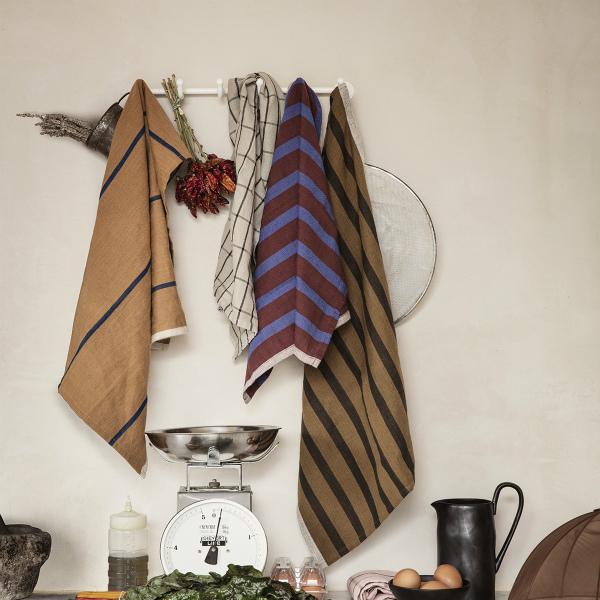 ferm LIVING (ファームリビング) Hale Tea Towels(ヘイル ティータオル) シュガーケルプ/ブラック 北欧/キッチンタオル/日本正規代理店品