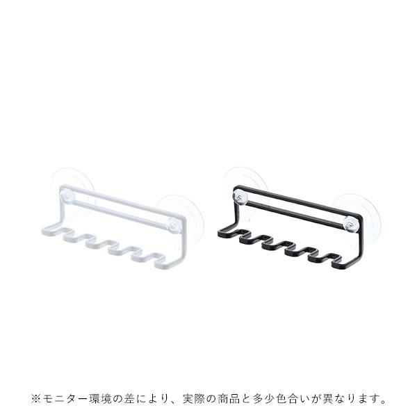 YAMAZAKI tower (タワー) Tooth Brush Holder (吸盤 トゥースブラシスタンドホルダー 5連) ホワイト/ブラック 収納/雑貨