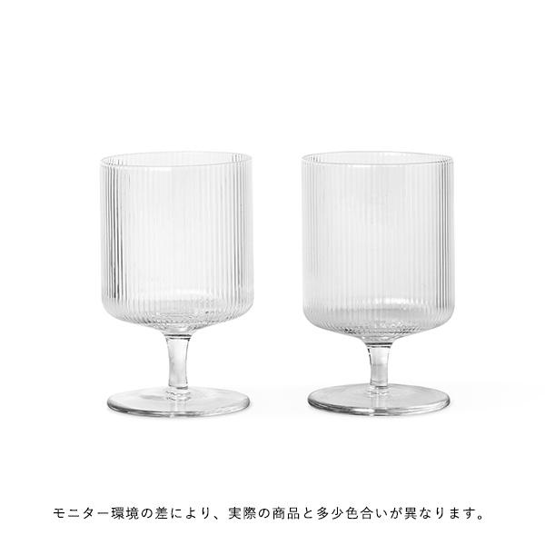 ferm LIVING (ファームリビング) Ripple Wine Glasses(リップル ワイングラス)2個セット クリア 北欧/ガラス食器/日本正規代理店品