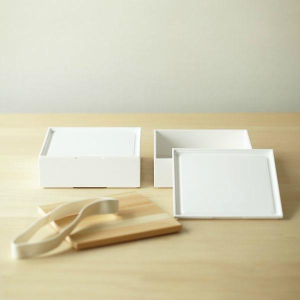 365 methods (サンロクゴ・メソッド) ホームデリボックス(18cm/2段) ホワイト/ナチュラル キッチン/弁当箱/重箱