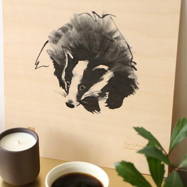Teemu Jarvi (テーム・ヤルヴィ) ポスター 24×30cm Plywood (プライウッド) BADGER (タヌキ) 北欧/インテリア