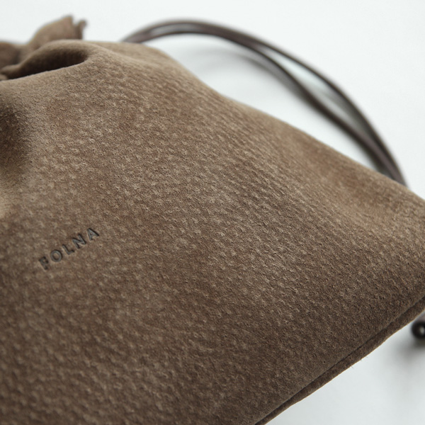 Folna (フォルナ) PIGスエード 巾着ショルダーミニ レザーバッグ/豚革/日本製【送料無料】