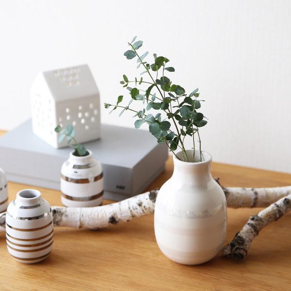Kahler(ケーラー) オマジオ フラワーベース スモールS(H12.5)パール 花瓶 陶器 日本正規代理店品