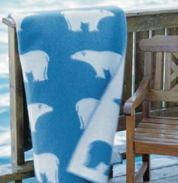 【送料無料】<br>Roros (ロロス) ブランケット アイスビヨン 白くま ブルー ニューウール100%<br>【国内正規取扱店】