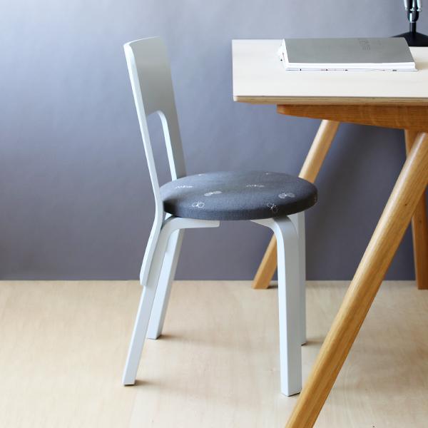 【送料無料】<br>Artek (アルテック) <br>66 Chair min&#228; perhonen series 3 「reflection &#8211;リフレクション&#8211;」 (66チェア ミナ ペルホネン) <br>choucho ライトグレー/ペールブルーラッカー  <br>北欧/正規販売店