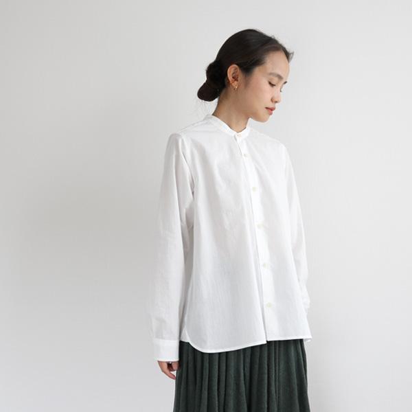 ashuhari (アシュハリ) バンドカラー Aラインシャツ Free ホワイト/スカイブルー ブラウス/スタンドカラー/立ち襟