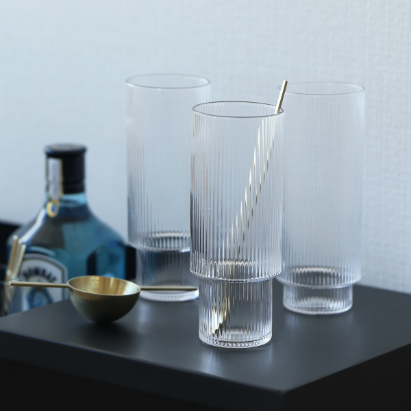 ferm LIVING (ファームリビング) Ripple Long Drink Glasses (リップル ロンググラス) 4個セット 北欧/インテリア/日本正規代理店品【送料無料】