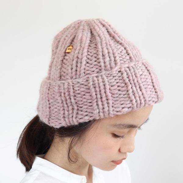 Myssyfarmi (ミッシーファルミ) MUFFI(ムフィ) ONE SIZE(M) ナチュラルライトグレー/ナチュラルバークブラウン/オフリラ(ピンク) ニット帽/ニットキャップ/ビーニー/北欧/手編み