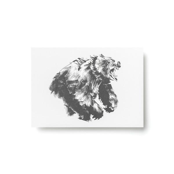 Teemu Jarvi (テーム・ヤルヴィ) ポストカード A6 ROARING BEAR (ヒグマ) 北欧/インテリア/ポスター【メール便】