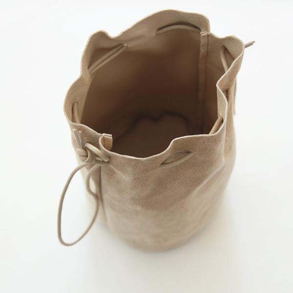 Folna (フォルナ) PIGスエード 巾着ショルダー ベージュ/ブルー レザーバッグ/豚革/日本製