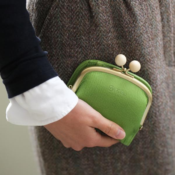 Folna (フォルナ) ウッドボールがま口 二つ折り財布 キャメル/ワイン/グリーン/ネイビー コンパクトウォレット【送料無料】
