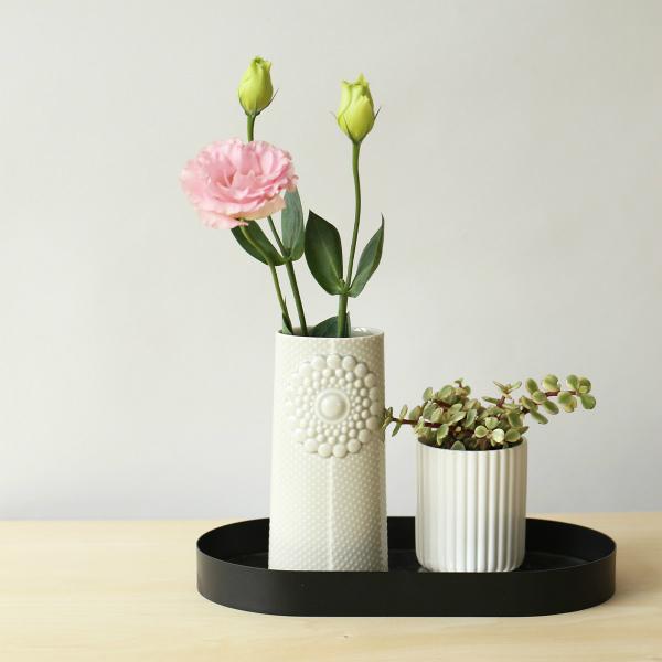 dottir (ドティエ) Pipanella (ピパネラ) フラワーベース/ドット オーバル ライトグレー 北欧/インテリア/花瓶/日本正規代理店品