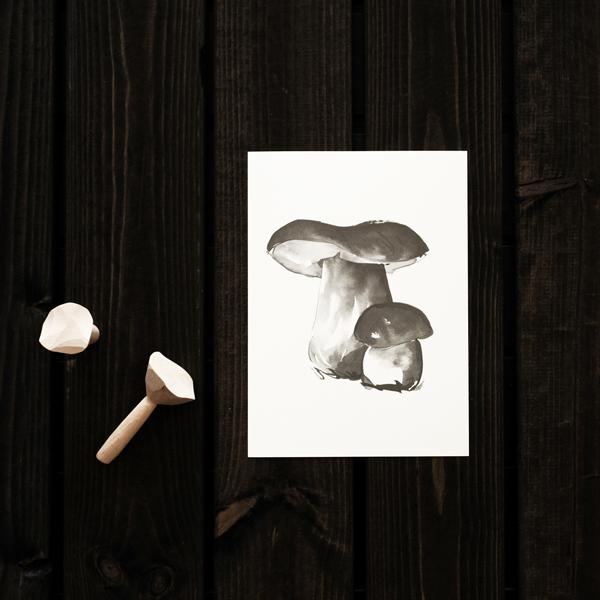 Teemu Jarvi (テーム・ヤルヴィ) ポスター A5 PORCINI MUSHROOM (ポルチーニ茸) 北欧/インテリア【メール便】