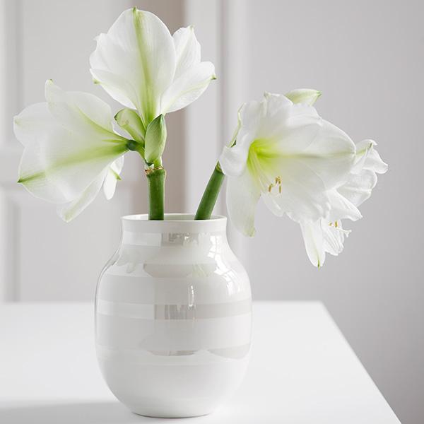 Kahler(ケーラー) オマジオ フラワーベース ミディアムM(H20)パール 花瓶 陶器 日本正規代理店品 【送料無料】
