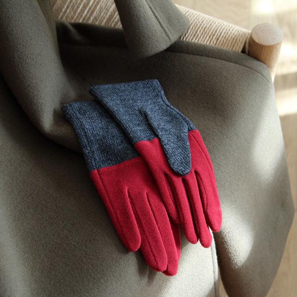 tet. (テト) グローブ WOMEN bicolor レッド&グレー/ライトブルー&ブラウン/ネイビー&ブラック/ライトグレー&グレー 手袋/防寒/日本製