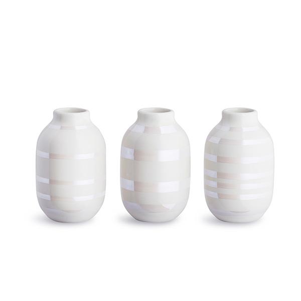 Kahler(ケーラー) オマジオ フラワーベース ミニ(H80)パール3個セット 花瓶 陶器 日本正規代理店品