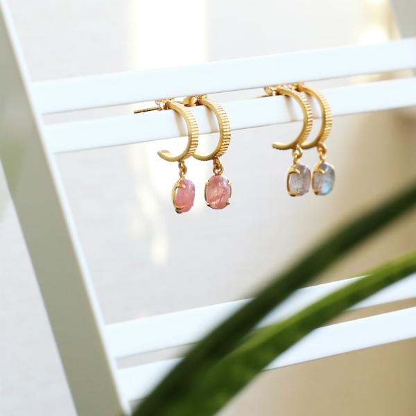 【30%OFF】Carre Jewellery (カレ ジュエリー) ピアス Gem Candy Pinstripe ロードクロサイト/ゴールド【送料無料】