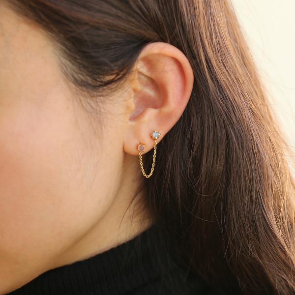 Carre Jewellery (カレ ジュエリー) ピアス(片耳) Gem Candy Colour グレームーンストーン・ロードクロサイト/ゴールド【ジュエリーボックスプレゼント】