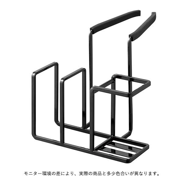 YAMAZAKI tower (タワー) 蛇口にかけるスポンジ&ブラシホルダー ブラック/ホワイト