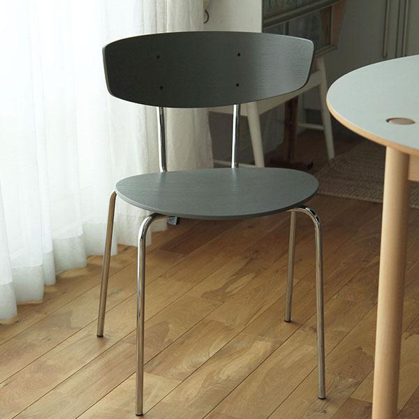 【受注発注】 ferm LIVING (ファームリビング) Herman Dining Chair(ハーマンダイニングチェア) ウォームグレー/クローム 北欧/インテリア/照明/日本正規代理店品 【大型送料】