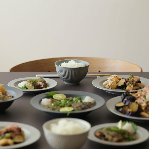 SALIU (サリュウ) しのぎ飯碗 ホワイト/グレー 和洋食器/食器/茶碗