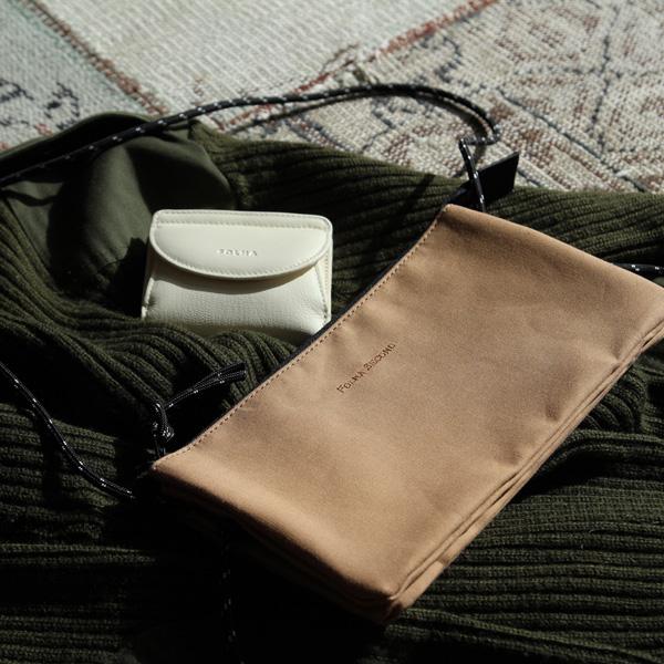Folna (フォルナ) マスクケースバッグ FOLNA SECOND(フォルナセカンド) ベージュ/グレージュ/ブラック サコッシュ/ショルダーバッグ/ボディバッグ/パールサニット/抗菌/防臭/日本製