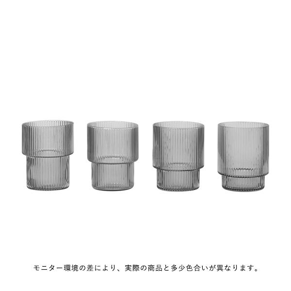 ferm LIVING (ファームリビング) Ripple Glasses (リップル グラス) 4個セット スモークグレー 北欧/ガラス食器/日本正規代理店品