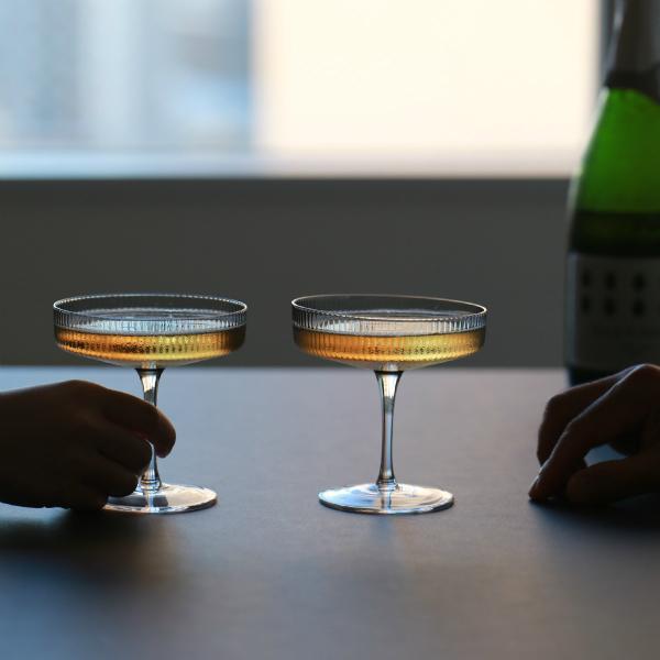 ferm LIVING (ファームリビング) Ripple Champagne Saucers (リップル シャンパングラス) 2個セット スモークグレー 北欧/ガラス食器/日本正規代理店品