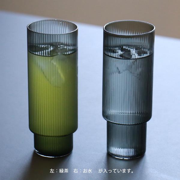 ferm LIVING (ファームリビング) Ripple Long Drink Glasses (リップル ロンググラス) 4個セット スモークグレー 北欧/ガラス食器/日本正規代理店品【送料無料】