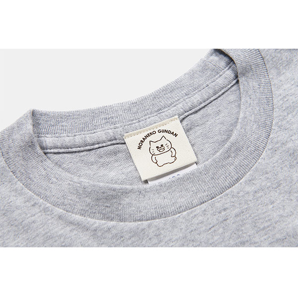 ノラネコぐんだん 長袖Tシャツ マーミーちゃんワンポイント グレー キッズ(110cm,130cm,150cm)、ユニセックス(S、M、L、XL)