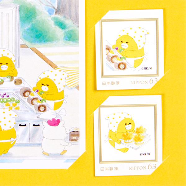 ノラネコぐんだん ポストカード&切手セット (東京駅 【東京駅コラボ】/ケーキやさん)※数量限定