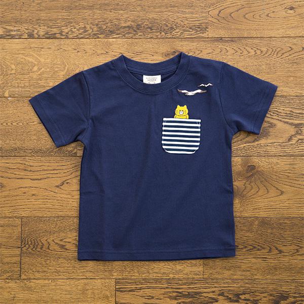 ノラネコぐんだん Tシャツ かもめ ネイビー(キッズ、レディース、メンズ) キッズ(100cm,110cm,120cm,130cm)、レディース(S,M,L)、メンズ(M,L)