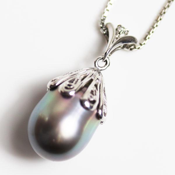 【MN2337】【中古】 PT プラチナ パールネックレス <br /> 真珠約11.6mm ダイヤ0.02ct 9.6g 40cm ベネチアンチェーン【質屋出品】