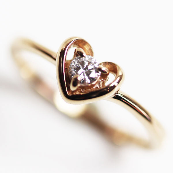 【MR3429】Samantha Tiara サマンサティアラ K18 ピンクゴールド ハートモチーフリング<br />ダイヤモンドリング 指輪 D0.1 2.0g<br />サイズ約9号 【中古】【質屋出品】