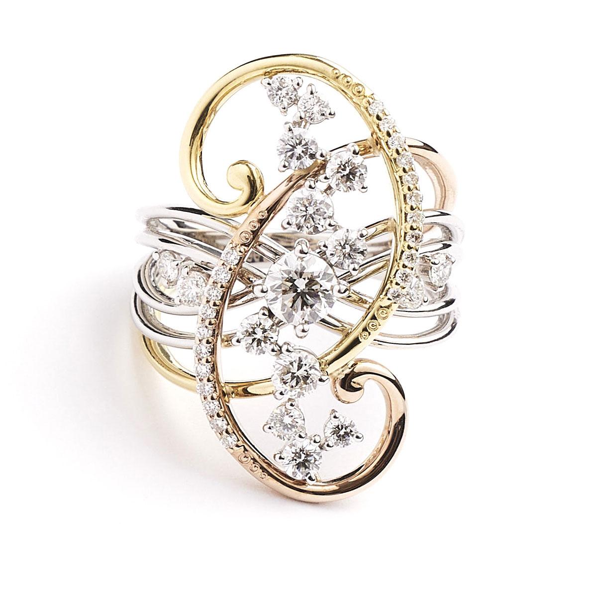Pt900/K18 Diamond Ring