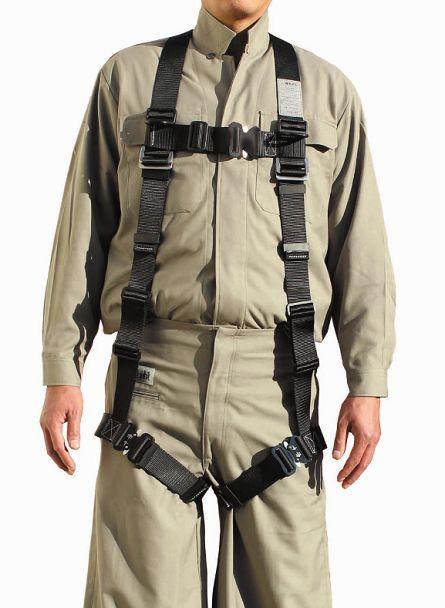 椿モデル HYF2-BL フルハーネスY型安全帯 胸掛けベルト・腿ベルトアルミ製ワンタッチバックル