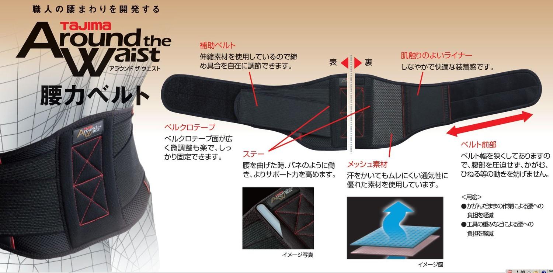 タジマ AW-YRBM 腰力ベルト Mサイズ 腰負担軽減ベルト