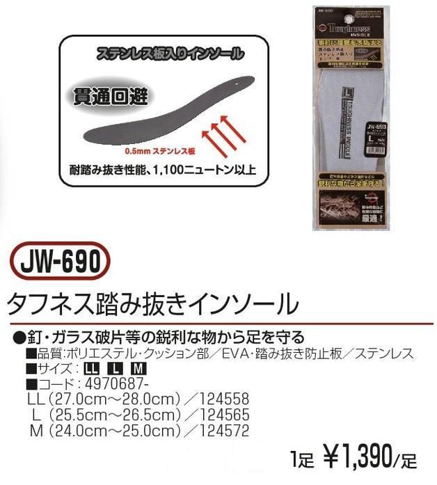 おたふく手袋 JW-690 タフネス踏み抜きインソール ステンレス製安全中敷