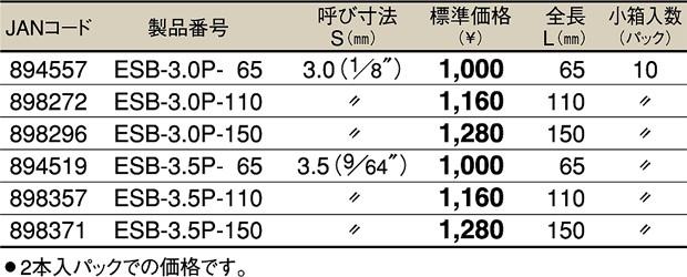 TOP ESB-3.5P-65 電動ドリル用四角ビット 3.5 マグネット付 (65mm) 2本入