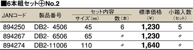 TOP DB2-6506 電動ドリル用ドライバビット (+No.2) 65mm マグネット付 6本組