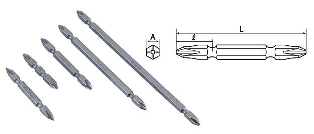 TOP DB2-11006 電動ドリル用ドライバビット (+No.2) 110mm マグネット付 6本組