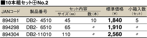 TOP DB2-4510 電動ドリル用ドライバビット (+No.2) 45mm マグネット付 10本組