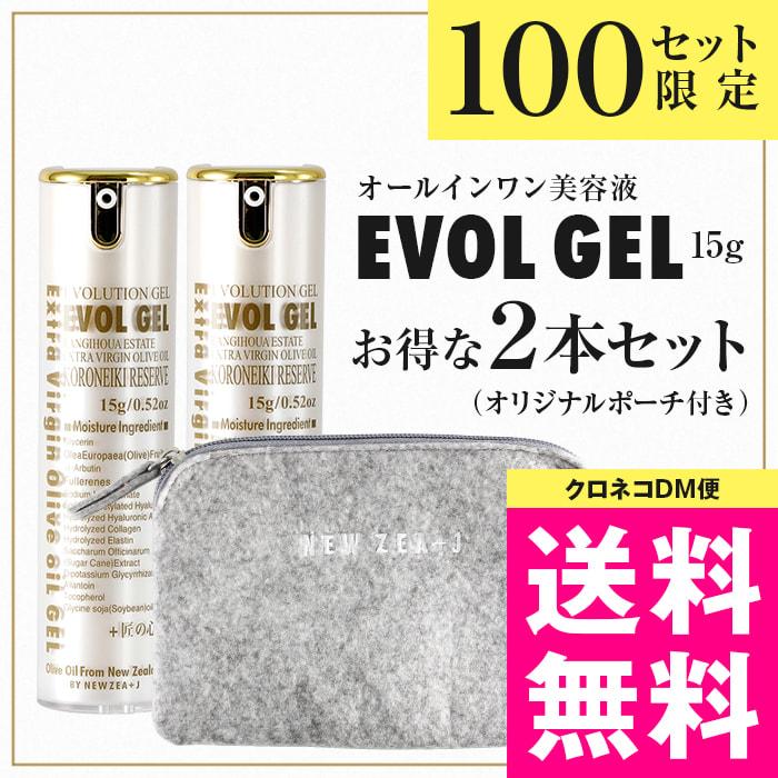 【クロネコDM便】EVOL GEL(エボル・ジェル)15g 2本セット オリジナルポーチ付【代引・日時指定 不可】