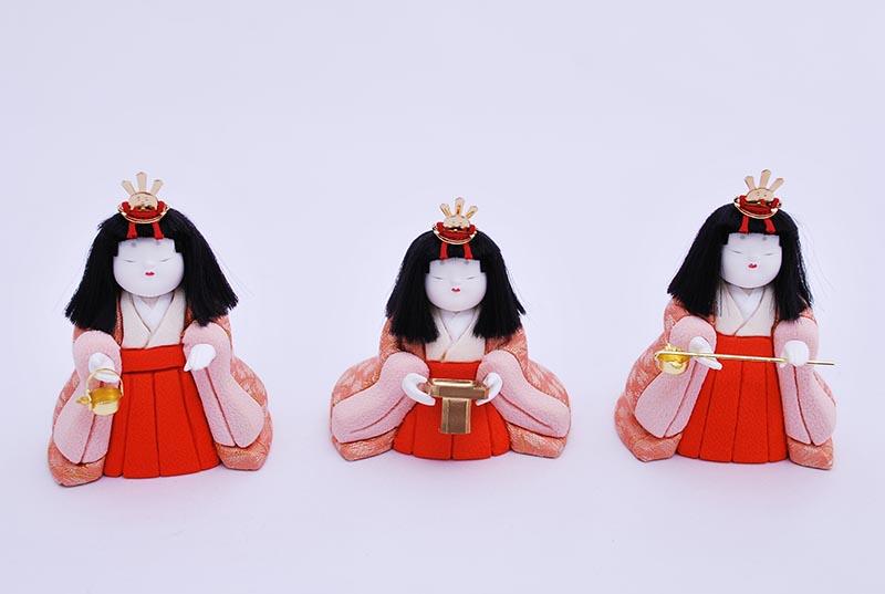 はる五人朱塗り収納出飾り(5人飾り)