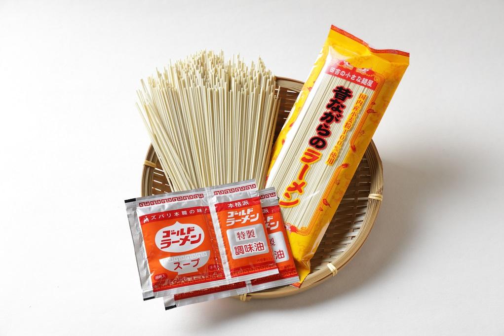 送料込み!昔ながらのラーメンと焼あごスープ付平たいうどん(各4食) ※着日指定、包装不可です